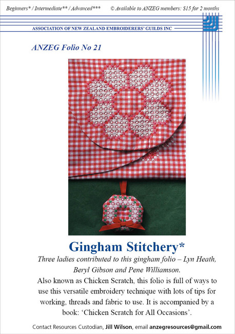 ANZEG Folios21: Gingham stitch