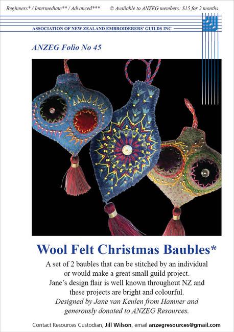 ANZEG Folios45: Wool felt Christmas baubles