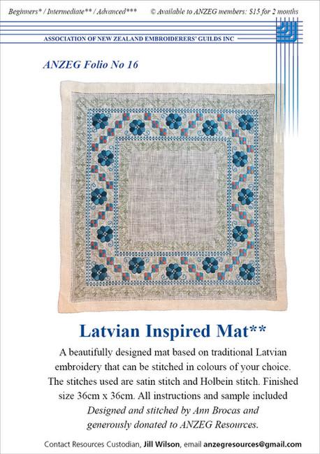 ANZEG Folios16: Latvian mat