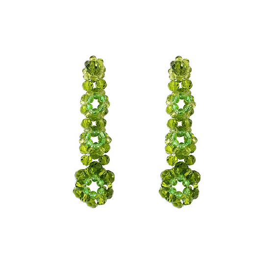 Green Beaded Handmade Earrings