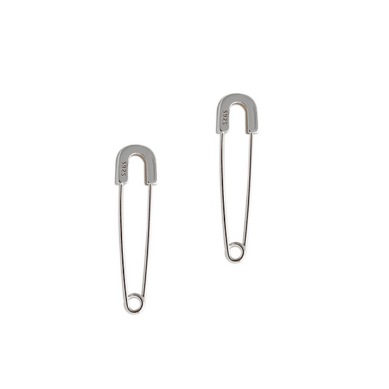 925 Silver Safety Pin Earrings