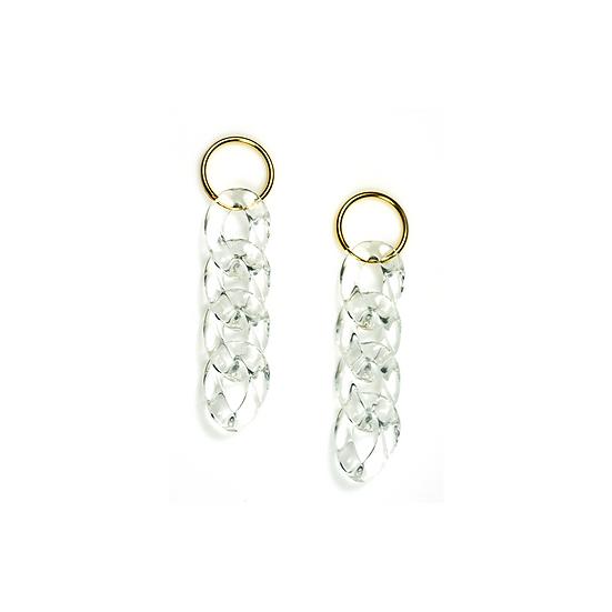 Clear Resin Chain 925 Silver Loop Earring