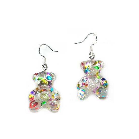 Clear Resin Gummy Bear Earrings