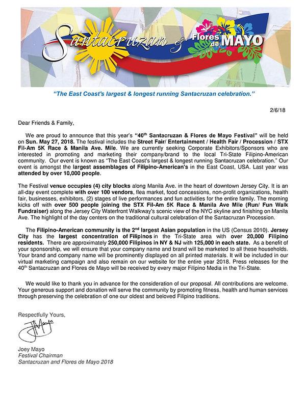 Sponsor Letter Regarding our Event