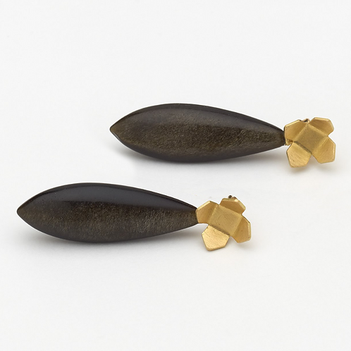 Gold Urban Flower Studs with detachable Obsidian