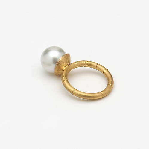 Gold Mermaid Bauble Ring with Australian Pearl