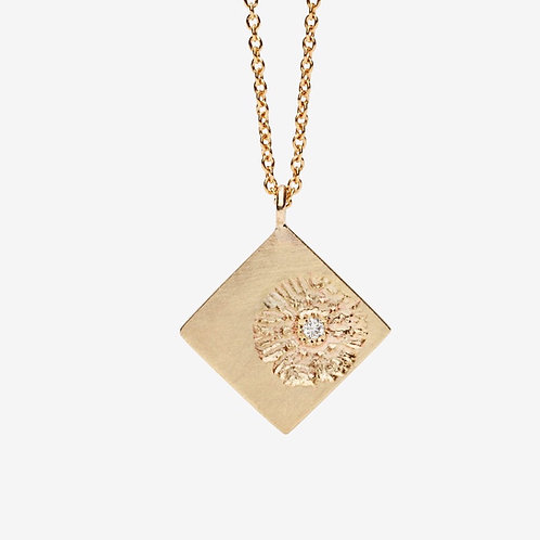 Gold & Diamond Vintage Stamp Necklace
