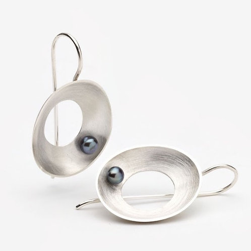 Silver Sea Earrings with Pearl