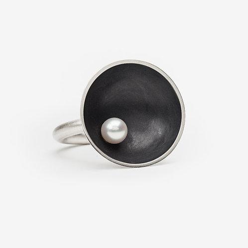 Oxidised Sea Dish Ring with Pearl