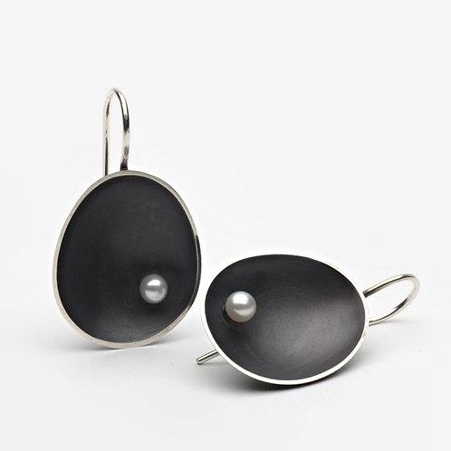 Oxidised Sea Earrings with Pearl