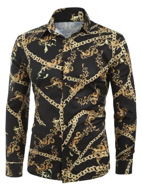 Dress Lily - Chain Keys Print Long Sleeve Shirt