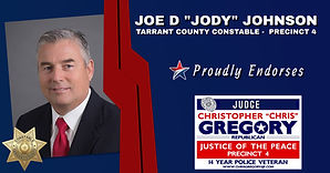 Endorsement by Joe D Jody Johnson for Re-Election for re-election of Judge Chris Gregory, JP4