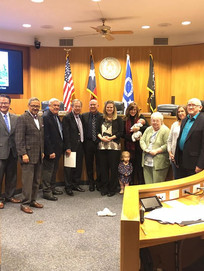 Newly elected Justice of hte Peace, Christopher Gregory with family and supporters.