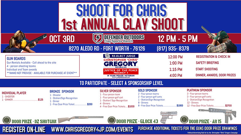 """1ST ANNUAL  """"SHOOT FOR CHRIS"""" CLAY SHOOT"""