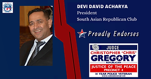Endorsement by David Archarya for re-election of Judge Chris Gregory, JP4