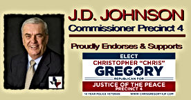 J.D. Johnson, Commissioner Precinct 4 Endorses candidate Christopher Gregory for Justice of the Peace, Precinct 4, Tarrant County