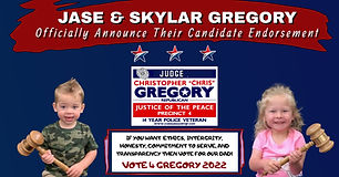 Official Endorsement for the Re-Election of Judge Christopher Gregory, Precinct 4, Tarrant County, JP4