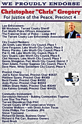 Endorsements of Candidate Christopher Gregory for Justice of the Peace, Precinct 4