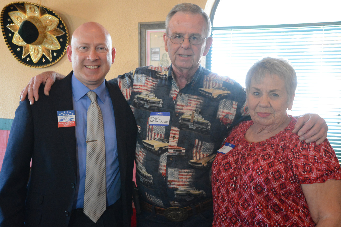 Judge Gregory, Mayor Walter Bowen, and former Mayor Linda Arrington endorsement