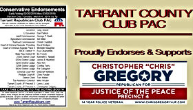 Tarrant Republican Club Pac Endorses Christopher Gregory for Justice of the Peace, Precinct 4