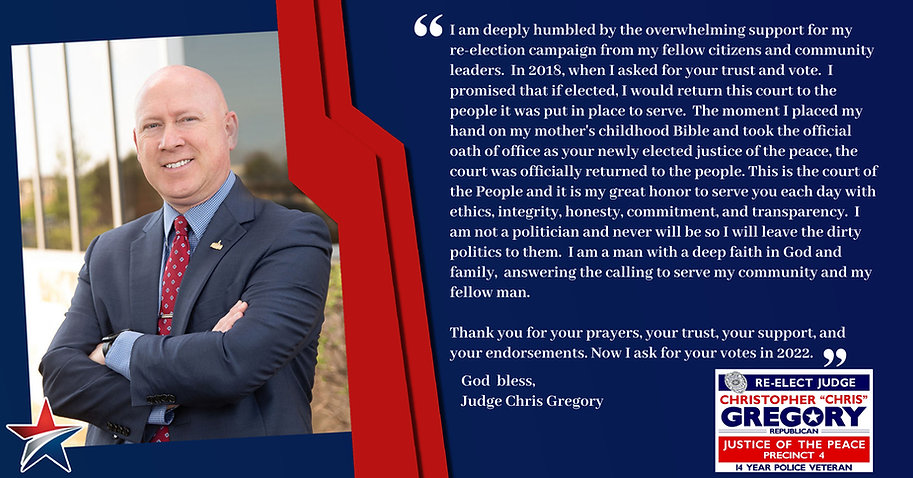 Judge Gregory - Thank you for your support.