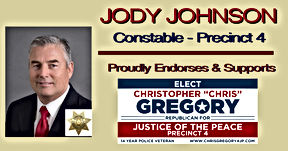 Chris Gregory Endorsement by Precinct 4 Constable, Jody Johnson