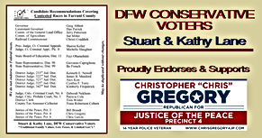 Chris Gregory Endorsement by Tarrant County -  DFW Conservative Voters