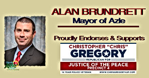 Chris Gregory Endorsement by Azle Mayor, Alan Brundrett