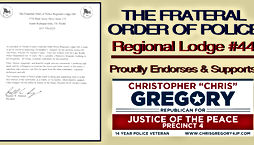 Chris Gregory Endorsement by The Fraternal Order of Police - Regional Lodge #44