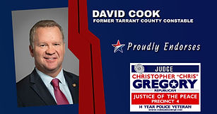 Endorsement by State Representative David Cook for the re-election for Judge Chris Gregory, JP4