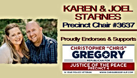 Joel & Karen Starnes Endores Chris Gregory for Justice of the Peace, Precinct 4