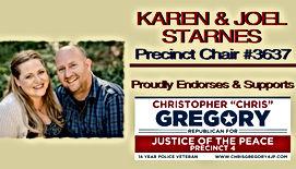 Joel & Karen Starnes Endores Chris Gregory for Justice of the Peace, Precinct 4