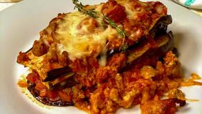 Lasagna de berenjenas con bolognesa de pavo