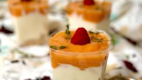 Vasitos cheesecake de yogurt y mango