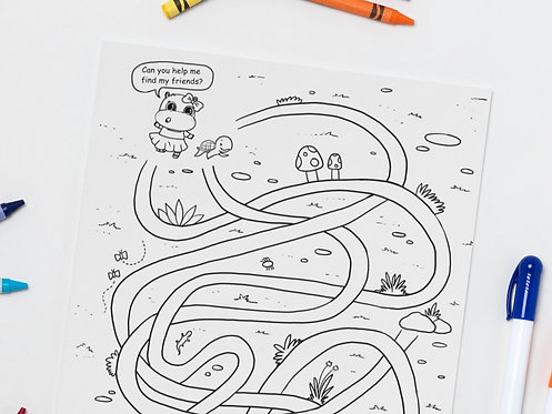 Tunnel Maze - Activity and Colouring Page