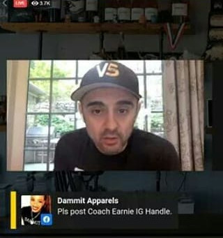 Gary Vee's FB LIVE selects Dammit Apparels Comment/Post. Mindblowing!