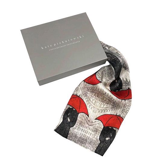 'Red Umbrella' Silk Scarf