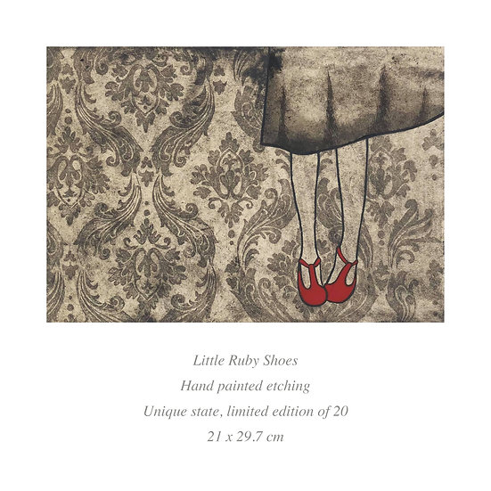 SALE 'Little Ruby Shoes' Etching