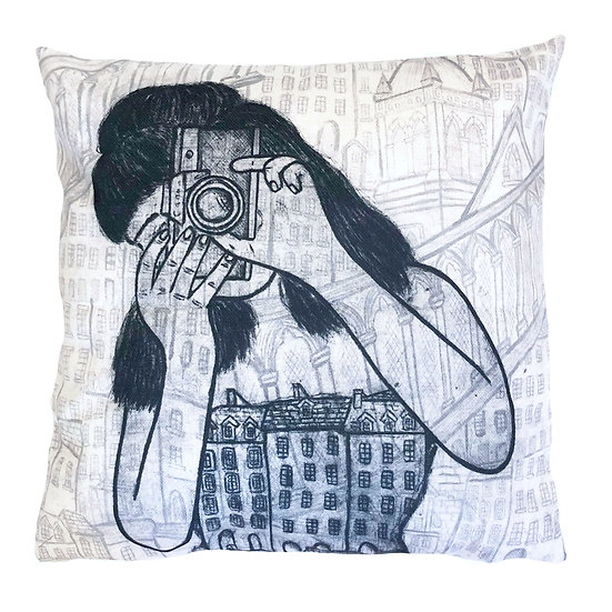 'Capturing Memories' Design Cushion