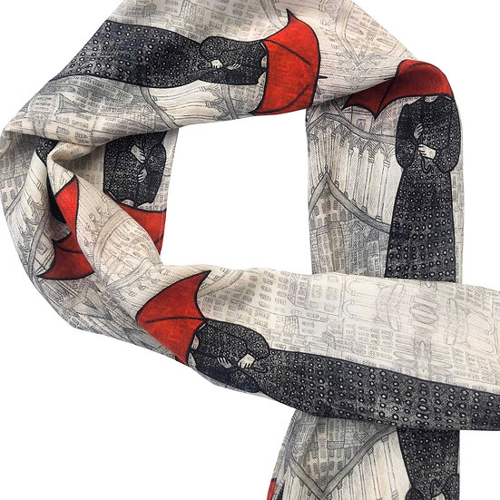 'Red Umbrella Design' Wool/Silk Scarf