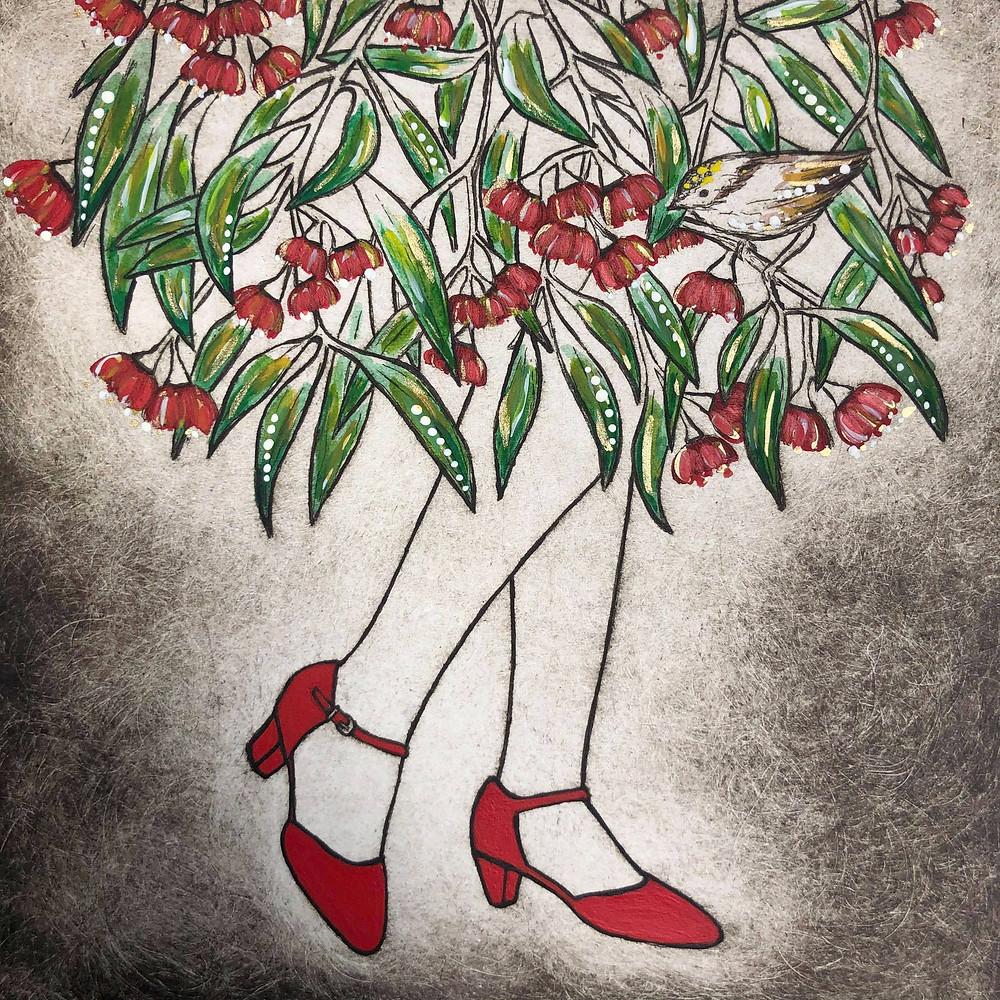 red shoes art, shoes art, flowering gum, flower art, gum leaves, Australian flower art, botanical art, quirky plant art, Kate Piekutowski art