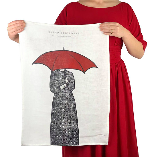 'Polka Dots In The Rain' Design Linen Tea Towel