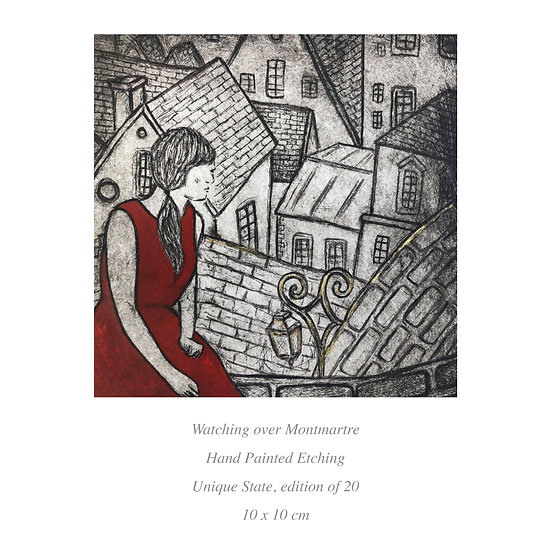 SALE 'Watching Over Montmartre' etching