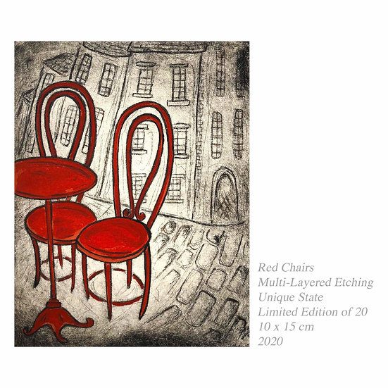 Original Etching 'Red Chairs'