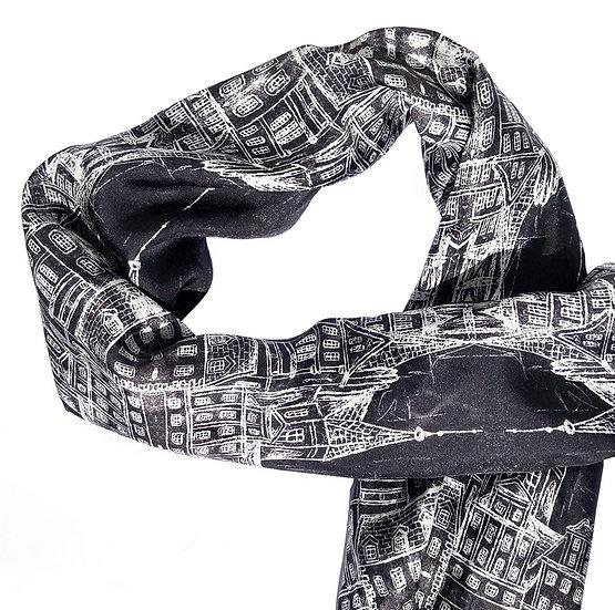 Black And White Architecture Silk Scarf