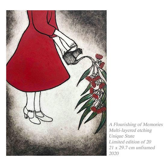 Original Etching 'A Flourishing Of Memories'