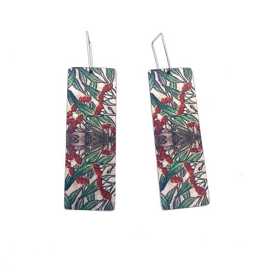 'Red Gum Flowers' Design Earrings