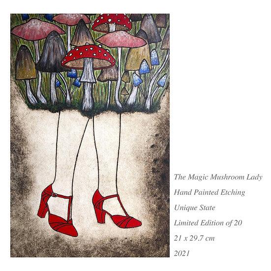 Original Etching 'The Magic Mushroom Lady' Unframed