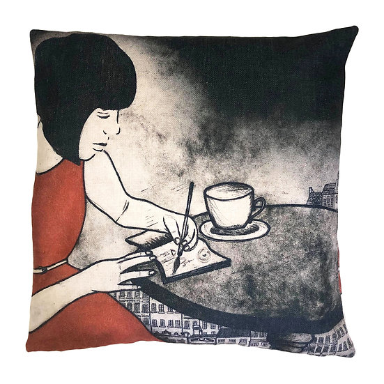 'Sketching in the Louvre' Design Cushion