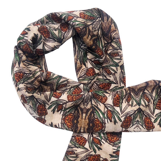'Protea Design' Wool/Silk Scarf